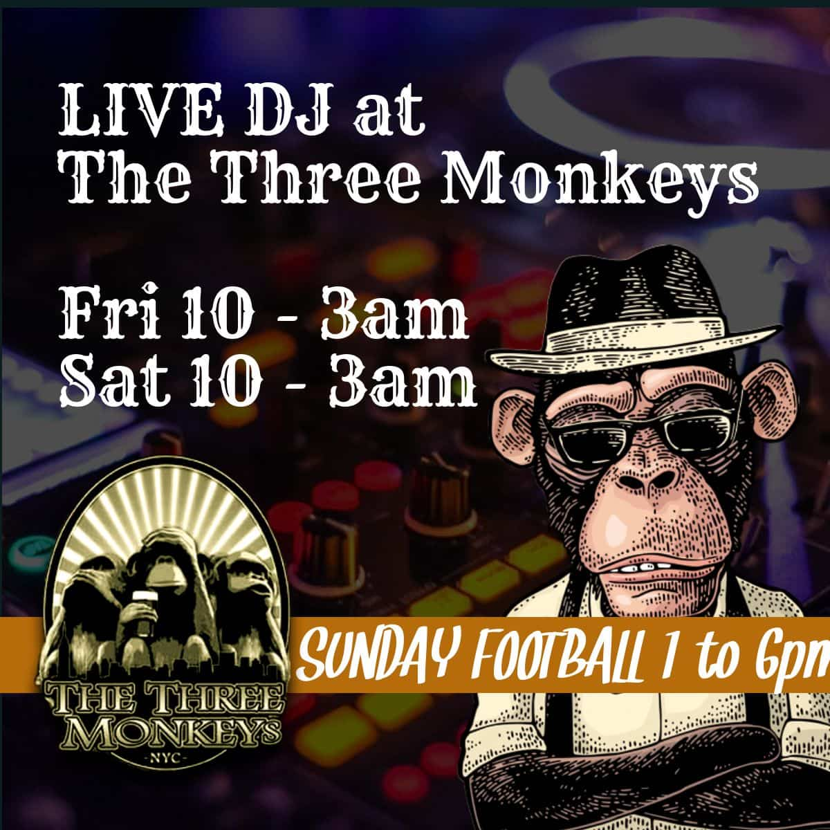 monkeysDJs-min Menus - Craft Beer Near Me | The Three Monkeys Bar